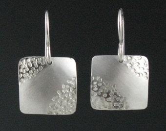 """Modern Silver Square Zen Earrings, """"Sand Earrings"""""""