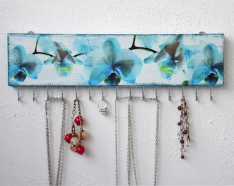 Blue Orchid - Wall Necklace Holder, Jewelry holder, Jewelry Storage, Jewelry Hanger blue, Jewelry Display, Jewelry Organizer, Jewelry Rack