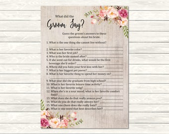 Rustic Boho What Did the Groom Say Game, Printable Pink Floral Boho What Did the Groom Say Activity, Bohemian Game, Instant Download, 110-A