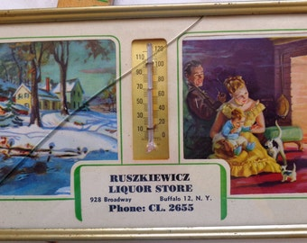antique Picture Thermometer winter scene fireplace advertisement metal framed Buffalo liquor store wall art decor winter scene family