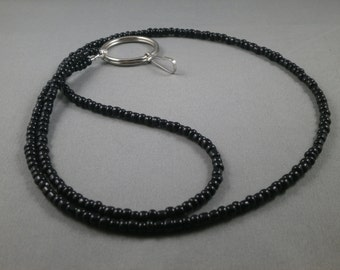 """black beaded lanyard 26"""" to 42"""" your choice of attachment : ID , Key ,eyeglass holder ,unique ,cute ,fashionable ID badge holder lanyard"""