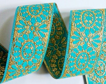 "Vintage Ribbon - 1 1/2"" x 1 yd Turquoise and Gold Reversible  Vintage71"