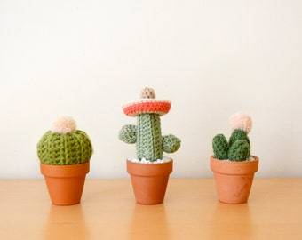 Mini Crocheted Cacti Trio (With Sombrero)