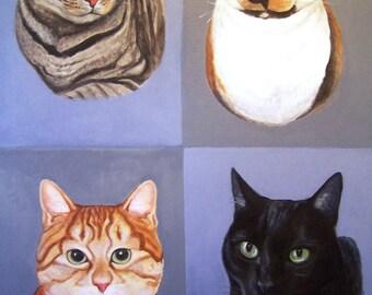 Custom Pet Portrait, 4 panel style 18x24 acrylic painting