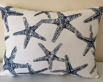 Starfish Pillow Cover, 12''x16'' Navy Starfish Pillow Cover, Beach Decor Pillow Cover