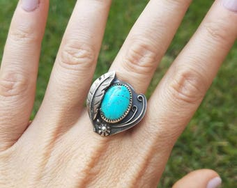 Kingman Turquoise sterling silver ring