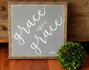 Grace upon Grace Framed Sign 1'x1'|Handpainted|Inspirational|Rustic|Distressed