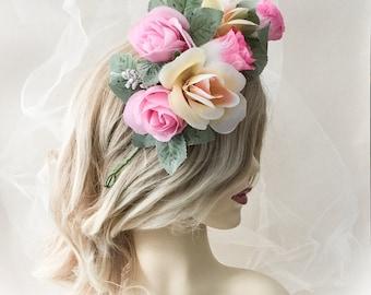 flower headpiece, festival hair flower, bridal headpiece, flower headdress, boho flower headpiece, fbridal headdressorest flower headpiece