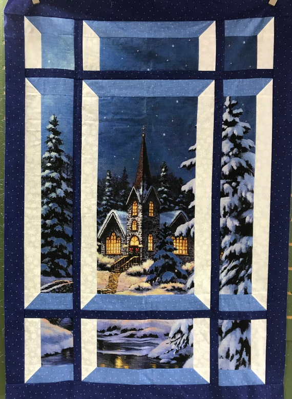 Modern Window Silent Night Church Quilt Kit Fabric by Northcott