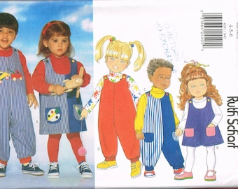Size 4-6 Girl or boy Easy Bib Front Overalls Pattern - Overalls Shorts Sewing Pattern - Overalls Dress Sewing Pattern - Butterick 4691