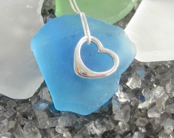 Dangling Heart Necklace- Sterling Silver (D)
