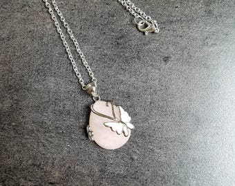 Nickel free silver chain and rose Quartz gemstone necklace