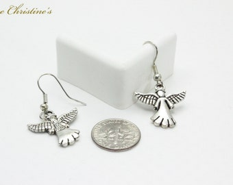 Angela - symbolic angel drop earrings supported by stainless steel hooks. Each earring weighs 1 gram. - TZE010202