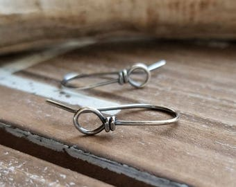 Sterling Silver Earwires, Rustic Front Face Loop Ear Wires, Antiqued Handmade Wild West - 2 pair Earring Findings