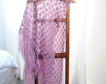 Handmade Crochet Shawl/Violet/Purple/100x160cm/Gift for wedding/Baby blanket/Decorative throw