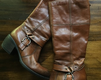 Clarks leather knee high harness boots