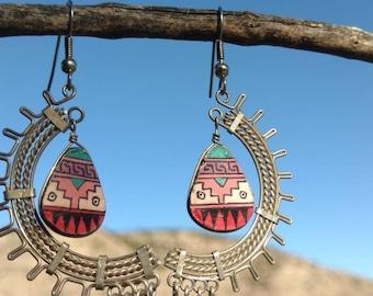 Aztec inspired dangle earrings