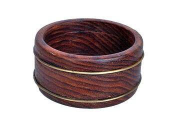 Wood Bangle/Bracelet with Brass - Bold and a Bit Brassy - Stretchable