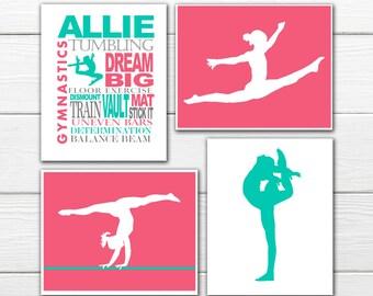 Gymnast Wall Art  Print  Set - 4 Custom Prints  - Personalized Gymnast Wall Art GYMNASTICS DECOR
