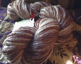 Fudge Marble Ice Cream hand dyed vegan cotton blend recycled yarn approx 165 yds