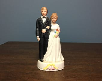 Vintage 1980's Bisque Wedding Cake Topper Bride and Groom (CT #12)