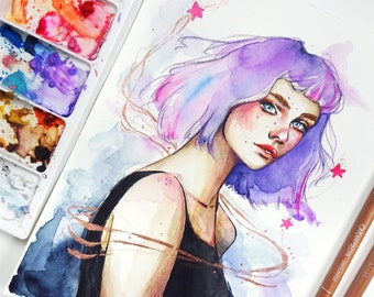 Purple Haze - Original Watercolor Painting of a Girl with Purple Hair and Pink Stars.
