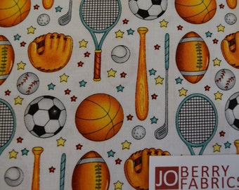 Sports Equipment from the Good Sports Collection, by Marie Cole for Henry Glass, Quilt or Craft Fabric, Fabric by the Yard