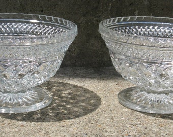 anchor hocking wexford crystal bowls footed bowls diamond pattern 7 inches tall