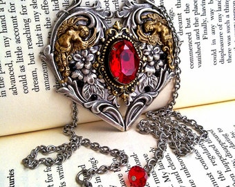 Gothic Necklace Swarovski Necklace Red Crystal Necklace Gothic Heart Statement Necklace Gothic Jewelry Victorian Jewelry