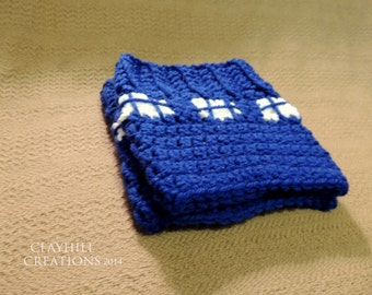 SALE! (20% Off) TARDIS Doctor Who Crochet Boot Cuffs - Dr Who - Whovian Accessory - Boot Toppers - TARDIS - Time Travel - Geekery - Nerdy