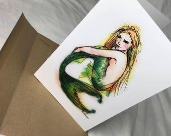 Green Mermaid, Cards by Renae Taylor