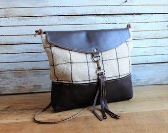 Clutch handbag, leather and burlap, crossbody bag