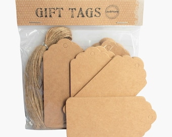 Scallop Gift Tag Name Label Card Blank Brown Paper with 50 Brown Strings