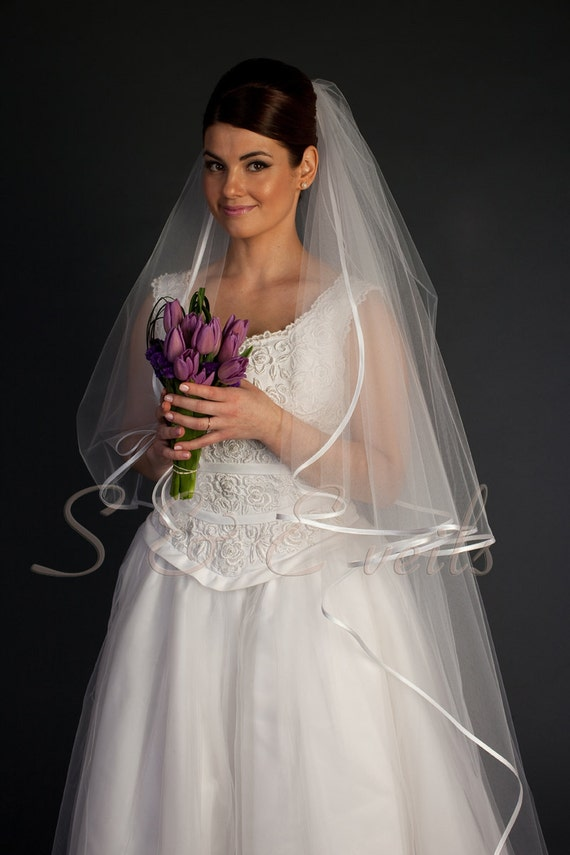 2-Tier Cathedral Cascade Veil with Ribbon and gathering around the comb