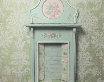 Half Scale 1:24 Cottage Chic Fireplace - handpainted Minty Blue or Blush Pink Spring bird nest Roses - Jill Dianne Art Dollhouse Miniatures