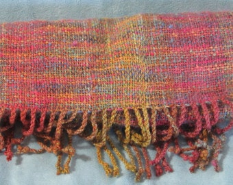 Rainbow Harvest -- hand woven scarf in gold, orange, pink, red, blue, and green