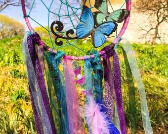 Butterfly  purple dream catcher, dreamcatcher , fairy decor, dreamcatchers, girl bedroom decor, baby nursery decor, fantasy decor, gifts
