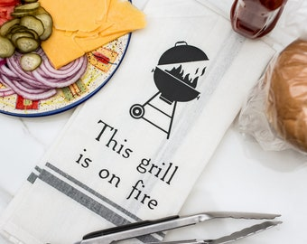 Funny Kitchen Towels - Hand Towels - Funny Tea Towels - Food Pun - Dish Towels Funny - Funny Wedding - Bridal Shower - This Grill is on Fire