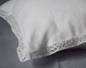 White Pillowcase. Linen Pillow Case. Laced pillowcase. White Lace Around. Handmade pillowcase.