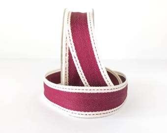 """Striped Ribbon 1"""" Wide - Burgundy with Ivory Border - Woven Fabric Ribbon with Stitched Edge 5 Yards"""