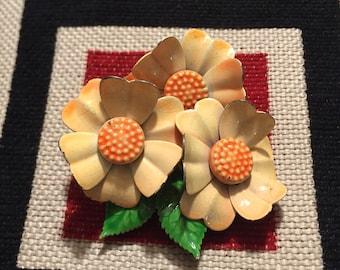 Vintage 60s Orange Floral Cluster Enamel Brooch Mod Retro