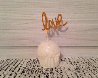 Gold Love Cupcake Toppers Wedding Cupcake Toppers Valentine's Day Birthday Appetizer Horderves Food Pick