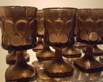 Vintage 60's Gothic Chocolate Franciscan Goblets - Set (6)