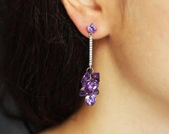 Long Earrings Purple Rhinestone Earrings Dark Purple Drop Earrings Purple Teardrop Earrings Long Amethyst Dangle Earrings Zirconia Earrings