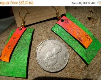 On Sale Neon Pink Green Painted Leather Earrings