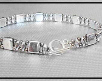 silver bracelet czechmate beads beaded jewelry beadwork tila