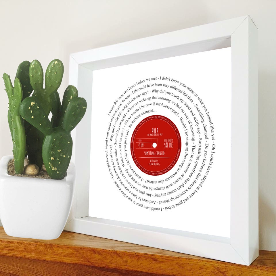 Pulp Something Changed lyrics Vinyl Record look framed print