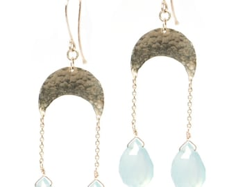 Crescent Chandelier Earrings, Handmade with Recycled 14k Gold or Palladium, Your choice of gemstone...