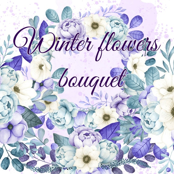 Winter flowers bouquets, Watercolor blue & purple flowers clipart ...