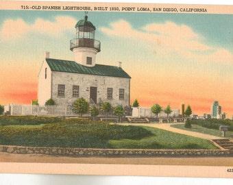 Linen Postcard, Old Spanish Lighthouse, Point Loma, San Diego, California, ca 1940